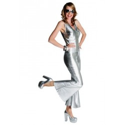 Location costume Disco combinaison argent adulte