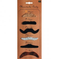 Moustache Assortie x6