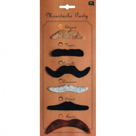Moustache Assortie x6