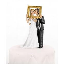 Figurine couple mariés cadre photo