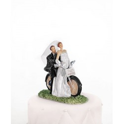 Figurine couple mariés bicyclette