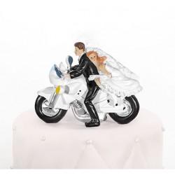 Figurine couple mariés moto