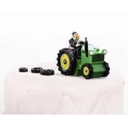 Figurine couple mariés tracteur