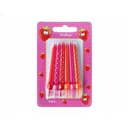 Bougies rose/rouge/orange x6