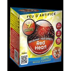 Feux d'artifice red heart 9 shots