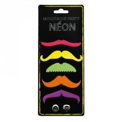 Moustaches party néon x5