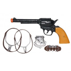 Set Cow boy, pistolet + éperons + cartouche + insigne