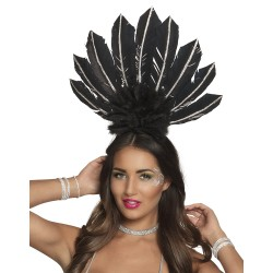 Serre tête plume Samba noir