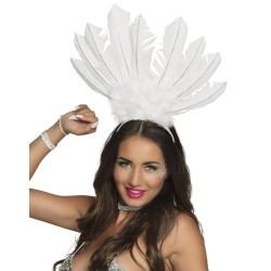 Serre tête plume Samba blanc