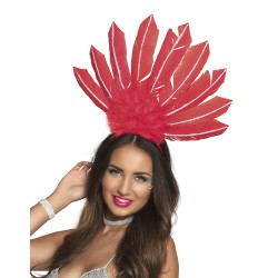 Serre tête plume Samba rouge