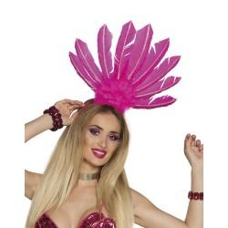Serre tête plume Samba rose fluo