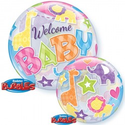 Ballon bubble naissance Welcome Baby 22""