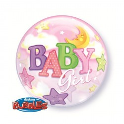 Ballon bubble naissance Baby Girl 22""