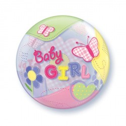 Ballon bubble naissance Baby Girl papillon 22""