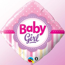 "Ballon aluminium naissance ""It's a Girl"" éléphant rose 18"""