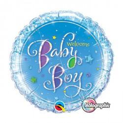 "Ballon aluminium naissance ""Baby Girl"" pois + rayures 18"""