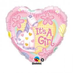 """Ballon aluminium naissance """"Welcome Baby Girl"""" rose holographique 18"""""""