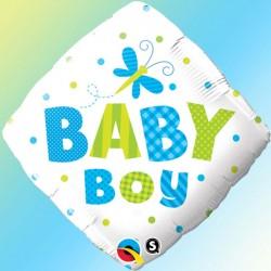 """Ballon aluminium naissance bleu """"it's a boy"""" girafe 18"""""""