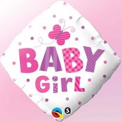 "Ballon aluminium losange naissance ""Baby Boy"" papillon 18"""