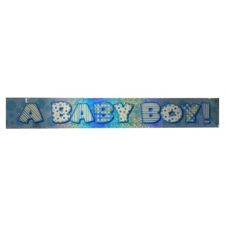 Banderole Baby boy holographique 3,65m