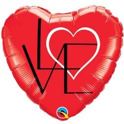"Ballon aluminium coeur rouge ""love"" 18"""