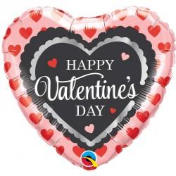 "Ballon aluminium coeur Happy Valentines Day 18"""