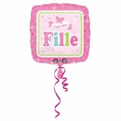 """Ballon aluminium naissance """"c'est une fille"""" 17"""""""