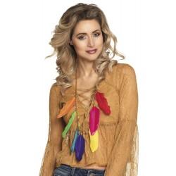 Collier Hippie Plume multicolore