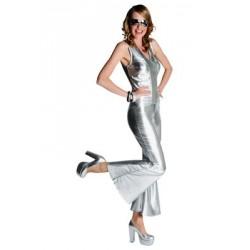 Location costume Disco combinaison argent adulte