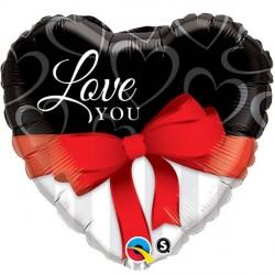 Ballon Alu Coeur Love You Noeud Rouge