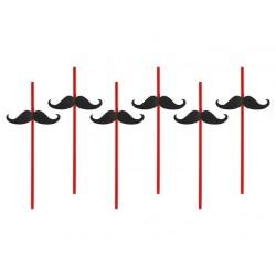 Pailles moustache x6