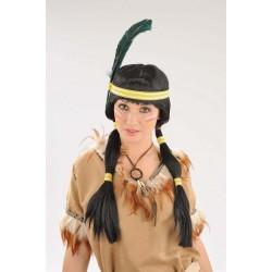 Perruque indienne + bandeau plume