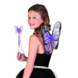 Ailes papillons violettes + baguette