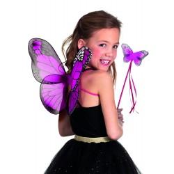 Ailes papillons fuchsia + baguette