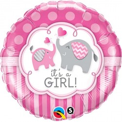 """Ballon aluminium naissance """"It's a Boy"""" éléphant bleu 18"""""""