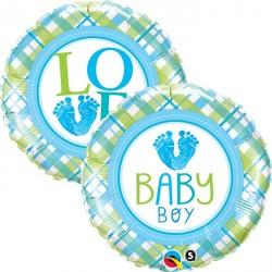 """Ballon aluminium naissance """"Welcome Baby"""" pois 18"""""""