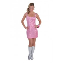 Location costume robe disco paillettes rose adulte
