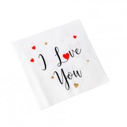 """Serviettes """"I Love You"""" x16"""